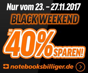 Nur bis zum 27.11.2017: notebooksbilliger.de Black Weekend - hier sparen Sie bis zu 40 Prozent auf Top-Technik. Jetzt entdecken!