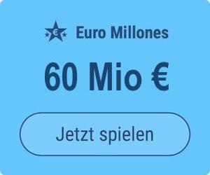 Dienstag den Euro Millions-Jackpot knacken und 60 Mio. EUR gewinnen: Tipp24-Neukunden erhalten über uns 2 Tippfelder GESCHENKT = 6 EUR Rabatt!