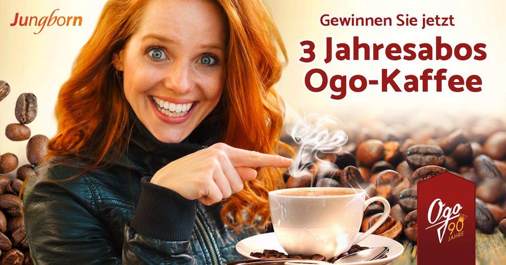 Beim Jungborn Online-Shop können Sie jetzt beim Newsletter Gewinnspiel monatlich 3 x ein Kaffee-Jahresabo gewinnen. Viel Glück!