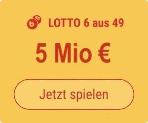Mittwoch den Lotto 6 aus 49-Jackpot knacken und 5 Mio. EUR gewinnen: Tipp24-Neukunden erhalten über uns 5 Tippfelder GESCHENKT = 5,50 EUR Rabatt!