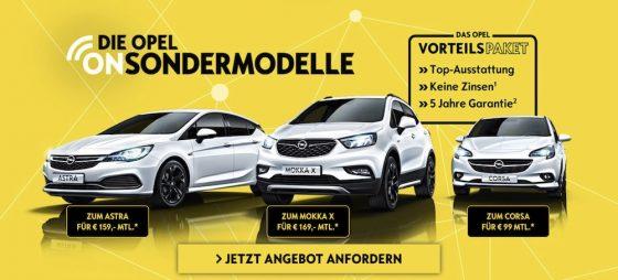Hier können Sie die neuen Opel ON-Sondermodelle entdecken. Fordern Sie noch heute ein Angebot an und freuen Sie sich über ein individuelles Angebot!