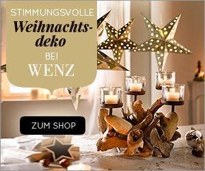 Wenn Sie am Wenz Weihnachts-Gewinnspiel teilnehmen, können Sie in jeder Woche bis Weihnachten einen Wenz Einkaufs-Gutschein im Wert von 250 EUR abräumen!