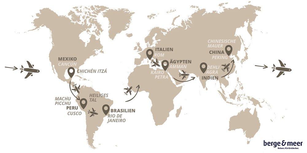 Die Berge & Meer Weltwunder-Reise wird wohl die Reise Ihres Lebens! Sie umrunden einmal die Erde und lernen dabei alle 8 Weltwunder kennen.