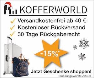 Mit Kofferworld Gutschein, sparen Sie beim Kauf von Taschen, Koffern und Reisezubehör bis zu 15% gegenüber dem Normalpreis.