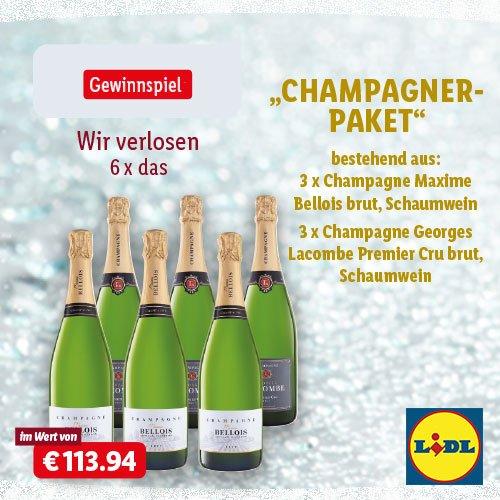 Lidl verlost unter allen Teilnehmern dieses Gewinnspiels ein Champagner-Paket im Wert von rund 114 EUR, bestehend aus 6 exklusiven Flaschen Champagner.