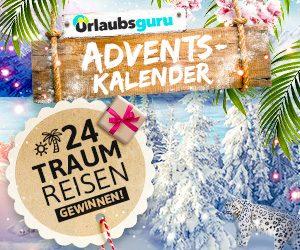 Auch 2017 warten beim Urlaubsguru Adventskalender-Gewinnspiel 24 Preise auf Globetrotter: Freuen Sie sich auf 24 Traumreisen.