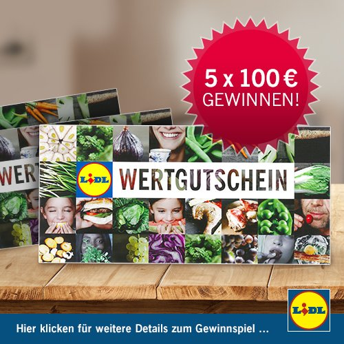 lidl einkaufs gutscheine gewinnen 5 x 100 eur. Black Bedroom Furniture Sets. Home Design Ideas