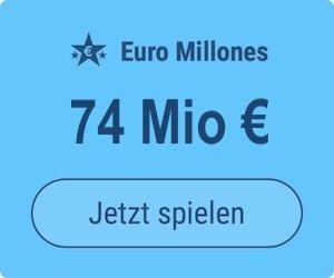 Freitag den Euro Millions-Jackpot knacken und 74 Mio. EUR gewinnen: Tipp24-Neukunden erhalten über uns 2 Tippfelder GESCHENKT = 6 EUR Rabatt!