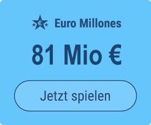 Dienstag den Euro Millions-Jackpot knacken und 81 Mio. EUR gewinnen: Tipp24-Neukunden erhalten über uns 2 Tippfelder GESCHENKT = 6 EUR Rabatt!