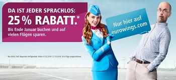 Mit der aktuellen Eurowings Aktion können Sie jetzt wieder sparen: Satte 25% Rabatt erhalten Sie auf viele Flüge bis Ende Januar!