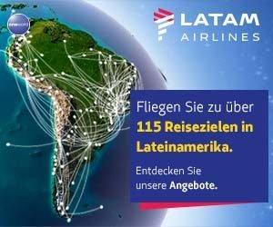 Günstige Reisen nach Lateinamerika gibt es mit LATAM Airlines! Über 120 Destinationen erwarten Sie auf der Webseite des Anbieters - und das zu fairen Preisen!