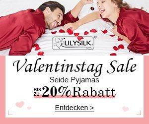 Geschmeidige Seiden Pyjamas, oder Bettwäsche aus dem Hause Lilysilk gibt es jetzt mit 20% Valentinstag Rabatt! Ideales Geschenk für Ihre Liebste bzw. Ihrem Liebsten.