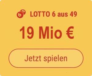 Mittwoch den Lotto 6 aus 49-Jackpot knacken und 19 Mio. EUR gewinnen: Tipp24-Neukunden erhalten über uns 5 Tippfelder GESCHENKT = 5,50 EUR Rabatt!