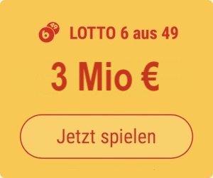 Mittwoch den Lotto 6 aus 49-Jackpot knacken und 3 Mio. EUR gewinnen: Tipp24-Neukunden erhalten über uns 5 Tippfelder GESCHENKT = 5,50 EUR Rabatt!