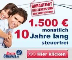 10 Jahre lang 1.500 EUR Sofortrente GEWINNEN, steuerfrei! Spielen Sie mit und gewinnen Sie finanzielle Unabhängigkeit. Gönnen Sie sich was!