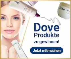 Nehmen Sie an der Dove Verlosung teil und sichern Sie sich Ihre Gewinnchance auf eines der exklusiven Produktpakete - die Daumen sind gedrückt!