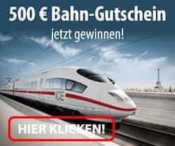 Gewinnen Sie beim aktuellen Deutsche Bahn Gewinnspiel einen 500 EUR Gutschein. Mitmachen und ganz bequem und vor allem umsonst an Ziele Ihrer Wahl reisen.