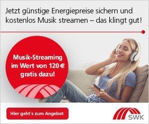 Stromanbieter und Gasanbieter wechseln und 120 EUR Streaming-Gutschein einstreichen! Bei SWK erhalten Sie jetzt bei einem Abschluss eines neuen Vertrags sich einen Gutschein für einen Streaming-Dienst Ihrer Wahl.