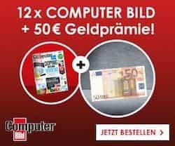 Erhalten Sie jetzt im Computer Bild Abo 12 Ausgaben für nur 58,80 und sichern Sie sich noch zusätzlich eine Geldprämie in Höhe von 50 EUR. Greifen Sie zu!