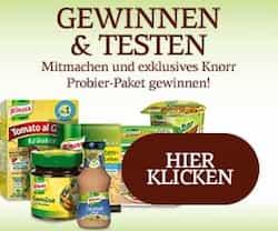 Jetzt ein Knorr Probier-Paket gratis testen und gewinnen! Als Tester haben Sie hier die Chance, Produkte der Top-Lebensmittelmarke Knorr zu gewinnen.