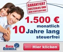 Bei diesem aktuellen Rentengewinnspiel können Sie jetzt eine monatliche Rente in Höhe von 1.500 EUR gewinnen - für 10 Jahre und steuerfrei.