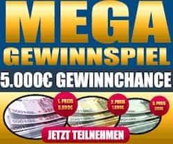 Jetzt am Gewinnspiel teilnehmen und Geld gewinnen - verlost werden 6.500 EUR in bar. DerHauppreis sind 5.000 EUR in bar - jetzt gleich teilnehmen!