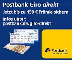 Jetzt können Sie sich ganze 150 EUR Prämie mit der Eröffnung eines Postbank Giro direkt Kontos sichern. Lassen Sie sich diese Möglichkeit nicht entgehen!