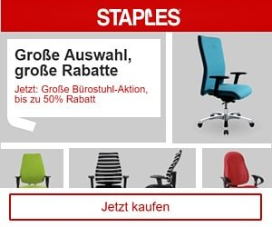 Bei Staples finden Sie Büroartikel, Druckerpatronen, Büromöbel, Artikel für Küche + Haushalt sowie für Versand + Verpackung.