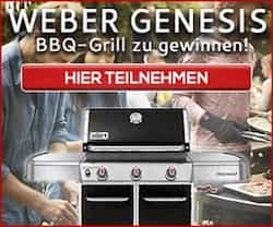 Jetzt einen exklusiven Weber Genesis Grill gewinnen. Mit diesem Schmuckstück werden Sie ein BBQ Meister & können den Grill-Sommer in vollen Zügen genießen!