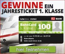 Jetzt bei diesem neuen Gewinnspiel können Sie jetzt eine BahnCard 100 gewinnen, mit der Sie bequem ein ganzes Jahr kostenlos und 1. Klasse durch Deutschland reisen können.