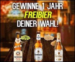 Beim Freibier Gewinnspiel können Sie sich jetzt mit ein wenig Glück auf 1 Jahr Freibier von Krombacher, Radeberger oder Erdinger freuen.