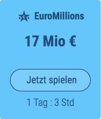 Freitag den Euro Millions-Jackpot knacken und 89 Mio. EUR gewinnen: Tipp24-Neukunden erhalten über uns 2 Tippfelder GESCHENKT = 6 EUR Rabatt!