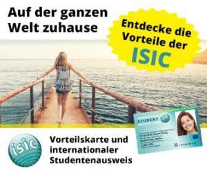 Mit den ISIC Studentenrabatte sparen Sie in allen Lebenslagen bares Geld. Ob Fashion, Electronics, Kommunkation, Gastronomie, Freizeit, Mobilität oder Versicherungen - nutzen Sie die Vorteile!