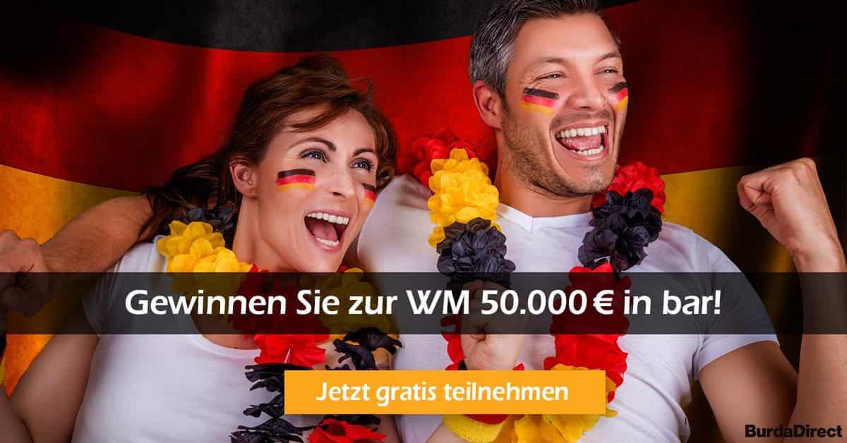 Burda-Gewinnspielzur WM 2018 in Russland 50000 EUR Bargeld gewinnen