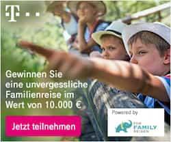 Beim neuen Telekom-Gewinnspiel können Sie eine unvergessliche Erlebnisreise im Wert von 10.000 EUR für die ganze Familie gewinnen! Außerdem gewinnen vier der Teilnehmer Eintrittskarten für die ganze Familie für einen Freizeitpark in Deutschland inkl. Tankgutschein.