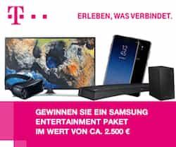 Sofort mitspielen und beim Telekom-Gewinnspiel ein Samsung Entertainment-Paket im Wert von 2.500 EUR gewinnen! Wir wünschen Ihnen viel Glück!