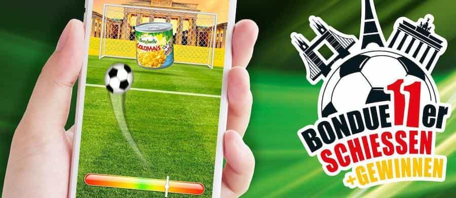 """Beim Bonduelle-Gewinnspiel""""Bondue11er-Schiessen"""" haben Sie die Chance, eine von insgesamt 11 Reisen in die Fussballmetropolen der Welt zu gewinnen."""