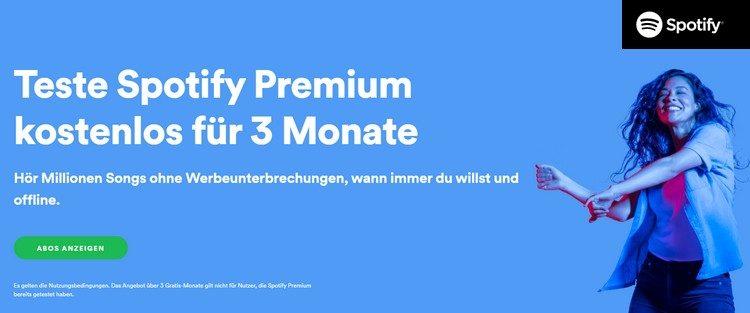 Spotify drei Monate gratis testen