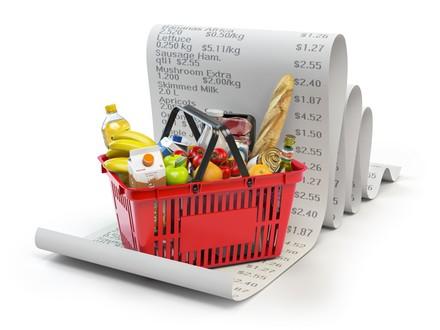 Einkaufskorb auf Kassenbon