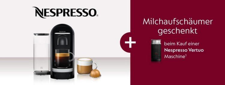 Gratis Milchaufschäumer beim Kauf einer Nespresso Vertuo