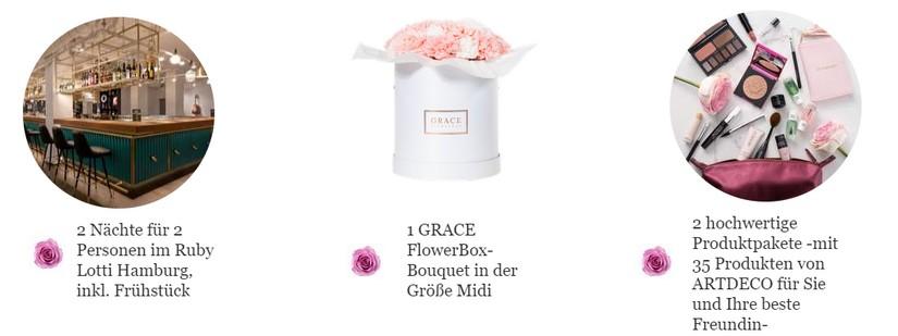 Der Gewinn: 2 Nächte im Ruby Lotti Hotel, 2 Grace Flowerbox, 2 Produktpakete von Artdeco