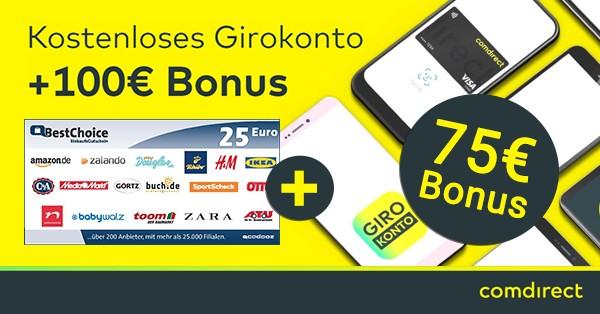 Commerzbank: 25€ BestChoice Gutschein + 75€ Bonus