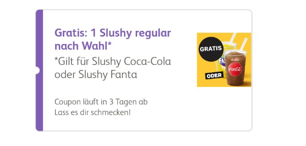 Coupon für gratis Slushy bei McDonalds