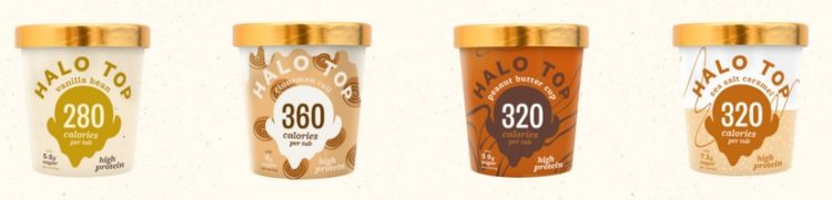 4 verschiedene Eissorten von Halo Top