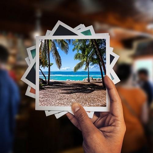 Urlaubsfotos in einer Hand