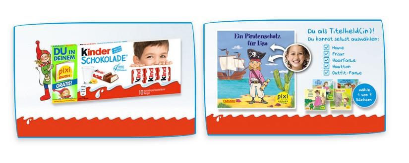 Kinderschokolade kaufen, personalisiertes Pixi-Buch bekiommen
