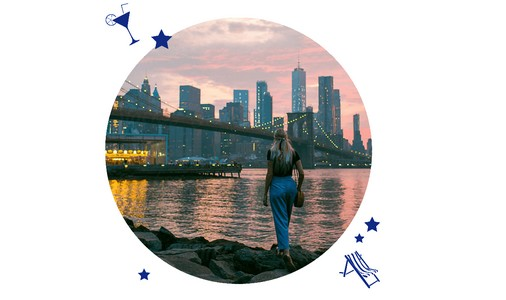 Frau vor New York