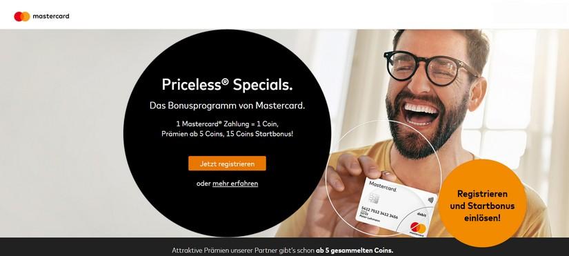 Anmeldung für Mastercard Priceless