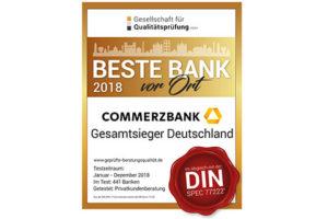Beste Bank Deutschlands Siegel