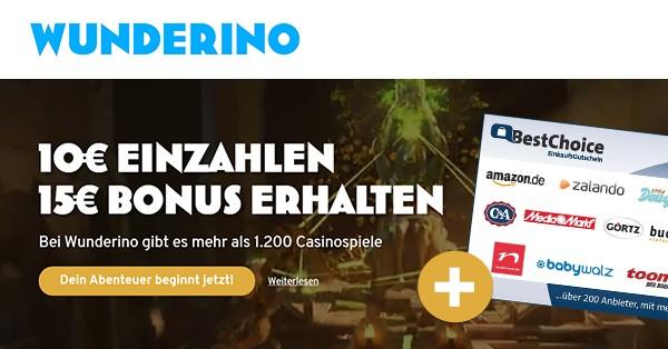 Wunderino: Für 10€ spielen, 15€ Gutschein bekommen
